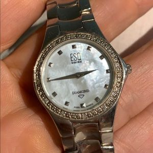 ESQ Swiss watch , diamond and Mother of pearl face